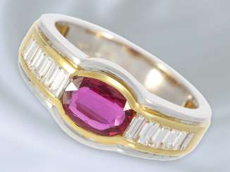Ring: very decorative and of high-quality Bicolor-wrought gold ring with a fine ruby and diamond setting, approx 1.6 ct, unworn