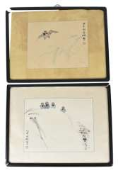 Two of the 'xieyi'compositions with illustrations of birds