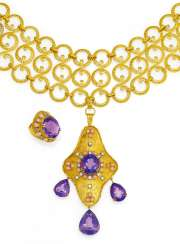 Demi-Parure: Amethyst coral pendant necklace and Ring