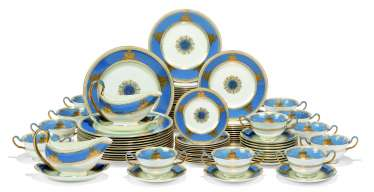 A WEDGWOOD 'BONE CHINA' POWDER-BLUE-GROUND PART DINNER-SERVICE