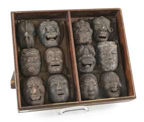 Set with twelve small Gigaku-masks made of wood with varnish edition