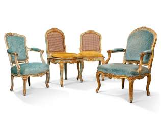 TWO LOUIS XV FAUTEUILS AND A PAIR OF SIDE CHAIRS