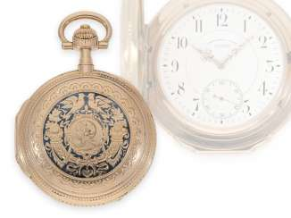 "Pocket watch: important and exceptionally large Glashütte gold / enamel splendor savonnette with Prof. Graff Louis XV case ""Minerva"", watch factory Union No.44056, around 1910"