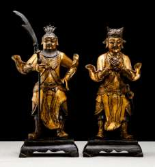 Pair of fire guards figures made of Bronze gold plated