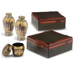 A GROUP OF JAPANESE LACQUER AND CERAMIC WARES