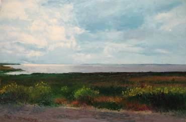 Original landscape painting oil on canvas, Azov Sea, Fedotova Foreland