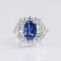 Exceptionally fine and natural Ceylon sapphire Ring set with a rich diamond trim
