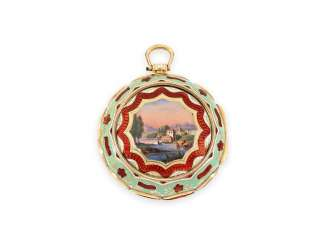 Pocket watch: very valuable, double-sided glazed Gold/enamel Spindeluhr with 3 Enclosures, made for the Ottoman market, Markwick Markham No. 24713, CA. 1813