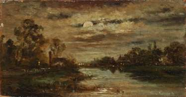 Village on the river in the moonlight