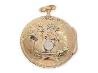 Pocket watch: very beautiful Louis XV Spindeluhr with 4-color gold case, signed Hentschel Strasbourg, CA. 1760