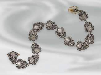 Bracelet: antique bracelet with rich diamonds, Gold and silver, probably 19th century. Century, probably Oriental