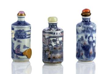 Three cylindrical Snuffbottles with figurative decoration