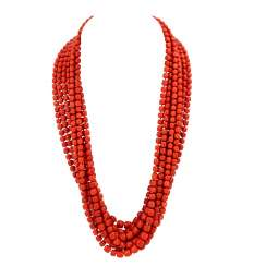 8-row coral necklace with gold clasp,