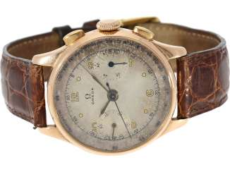 Watch: rarity, especially in large, formerly Omega Chronograph in rose gold, built in 1944