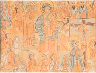 LARGE COPTIC ICON OF THE MOTHER OF GOD, THE CRUCIFIXION OF CHRIST AND SAINTS