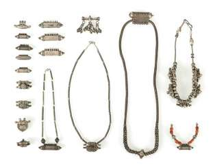 Various necklaces made of silver with pendants made of silver, parts in coral and turquoise