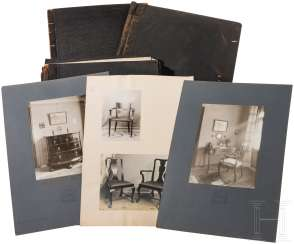 Arts and crafts workshop Otto Fritzsche, three photo folders with furniture and interior design, Munich, Germany, around 1900 to 1930