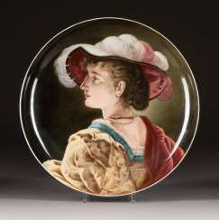 LARGE WALL PLATE WITH A LADY'S PICTURE