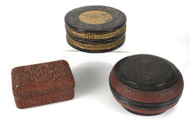 Three lid cans of paint, some with braid and decor in addition to inscription