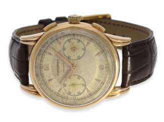 Watch: very rare, large Longines Flyback Chronograph in 18K Gold, approx 1953