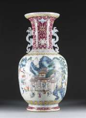 LARGE FLOOR VASE WITH EXTENSIVE DECORATION