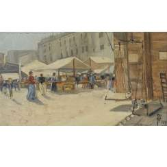 "MONOGRAMMIST TW or TM (?; Painter / in 19th / 20th century), ""Market in southern city"","