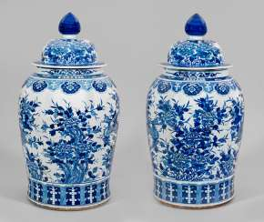 Pair of monumental blue and white lid vases