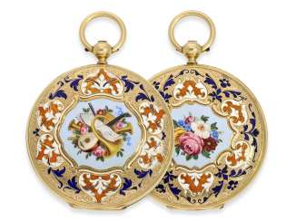 Pocket watch: fine Gold/enamel-Savonnette of outstanding quality, Huegenin & Cie. No. 31147, made for the Ottoman market around 1840