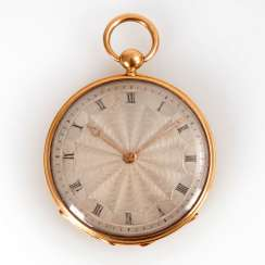 Golden pocket watch with key winding.