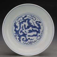 Qing Dynasty Yongzheng Blue and White Porcelain Dragon Plate