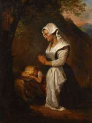 Genre scene with a praying mother image