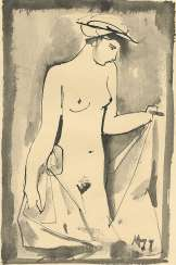 MYLNIKOV, ANDREI (1919-2012) Standing Nude , signed with a monogram and dated 1977.