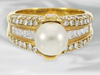 Ring: attractive pearl ring with diamonds, about 2.1 ct, 18K Gold Farming, neuwertig, NP lt. Label over 5000,-€