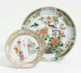 Large plate with peonies and a small plate with couple in Love, and game boy