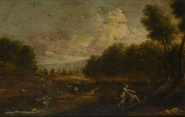 Landscape painter 18th century: Landscape with cattle and two men fighting