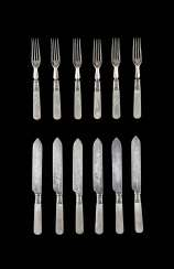 SET OF SIX FORKS AND SIX KNIVES WITH MOTHER OF PEARL HANDLES