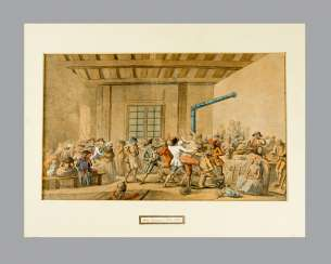 Artist around 1800, riot, watercolour on paper, framed