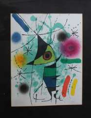Joan Miro(1893-1983)-graphics on paper, two compositions, framed