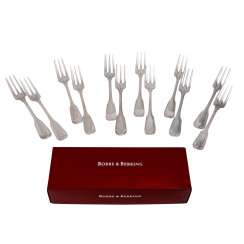 ROBBE & BERKING 12 cake forks 'Alt-Faden', 925 silver, 20th century.