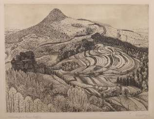 Nägele, Reinhold Murrhardt 1884 - 1972 Stuttgart, painter and graphic artist, co-founder of the Stuttgart Secession, 1952 conferred the title of professor. '' Hohenstaufen and Rechberg Ruins ''