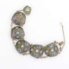 Filigree bracelet with enamel