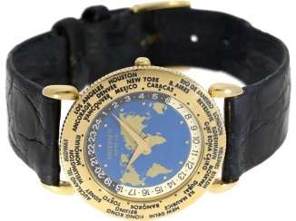 Watch: unusual, very rare 18K Gold world time watch