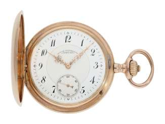 Pocket watch: red gold, A. Lange & Söhne Glashütte gold savonnette, No. 53168, Glashütte CA. 1904, with the master excerpt from the book