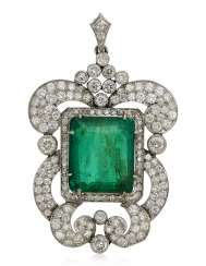 EMERALD AND DIAMOND PENDANT WITH GIA REPORT