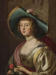 Portrait of a lady with a flowered hat