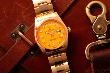 ROLEX, GOLD AND DIAMONDS DAY-DATE WITH YELLOW STELLA DIAL, REF. 1802
