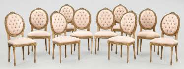 Set of ten chairs in the Louis XVI style