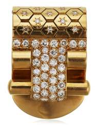 VAN CLEEF & ARPELS RETRO DIAMOND AND GOLD 'LUDO HEXAGONE' CLIP BROOCH