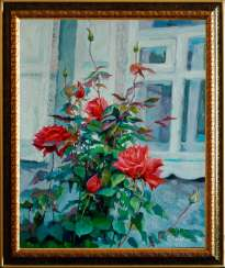 Roses under the window.