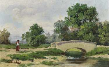 Landscape with a bridge and figure staffage